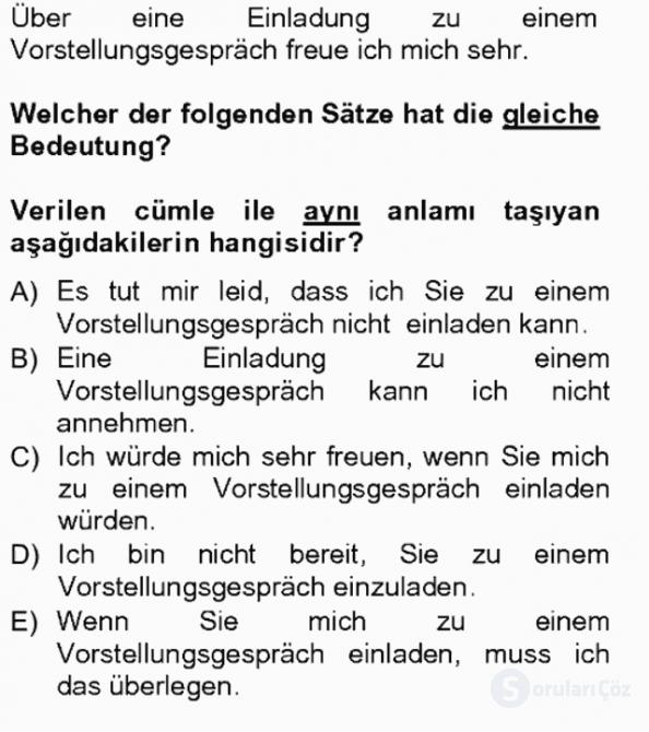 Almanca III Tek Ders Sınavı 18. Soru