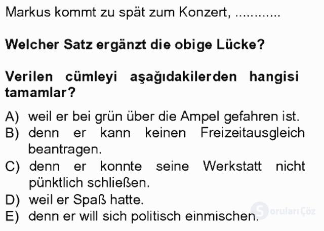 Almanca III Tek Ders Sınavı 19. Soru
