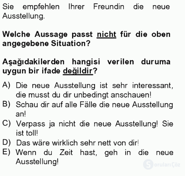 Almanca III Tek Ders Sınavı 20. Soru