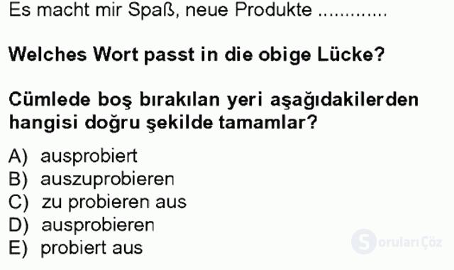 Almanca III Tek Ders Sınavı 3. Soru