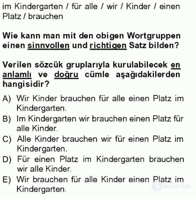 Almanca III Tek Ders Sınavı 4. Soru
