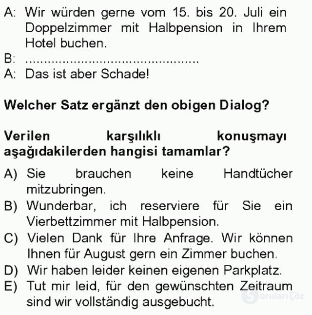 Almanca III Tek Ders Sınavı 5. Soru