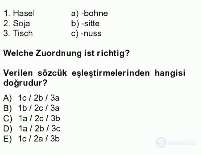Almanca III Tek Ders Sınavı 7. Soru