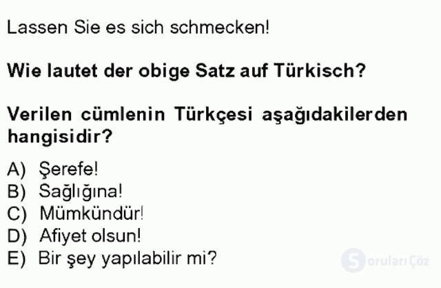 Almanca III Tek Ders Sınavı 8. Soru