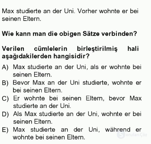Almanca III Tek Ders Sınavı 9. Soru