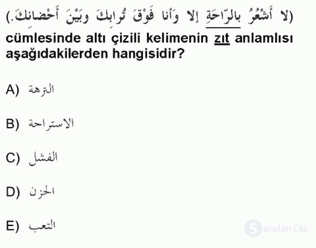 Arapça I Tek Ders Sınavı 1. Soru