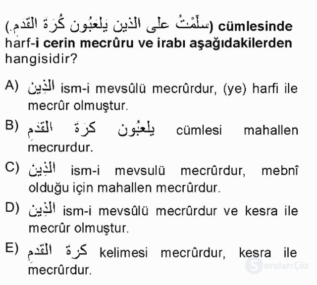 Arapça I Tek Ders Sınavı 16. Soru