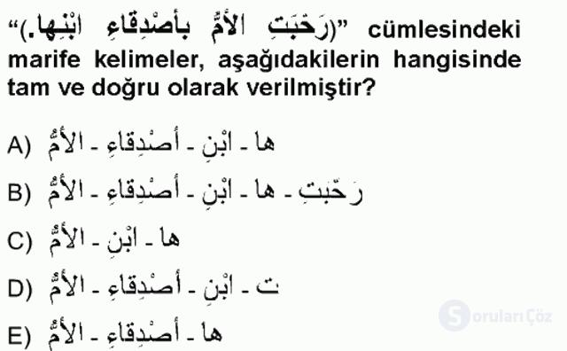 Arapça I Tek Ders Sınavı 8. Soru