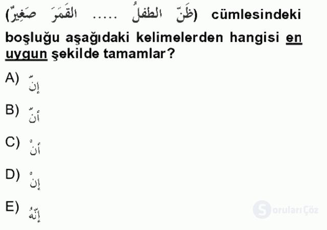 Arapça II Tek Ders Sınavı 16. Soru