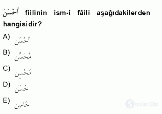 Arapça II Tek Ders Sınavı 2. Soru