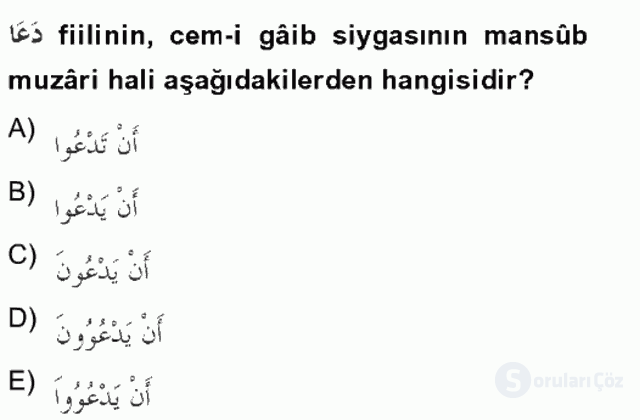 Arapça II Tek Ders Sınavı 6. Soru