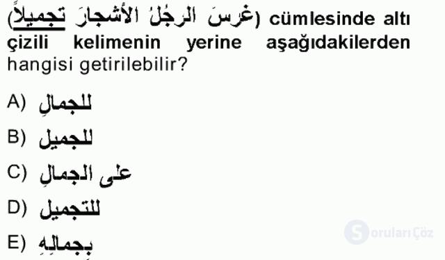 Arapça III Tek Ders Sınavı 11. Soru