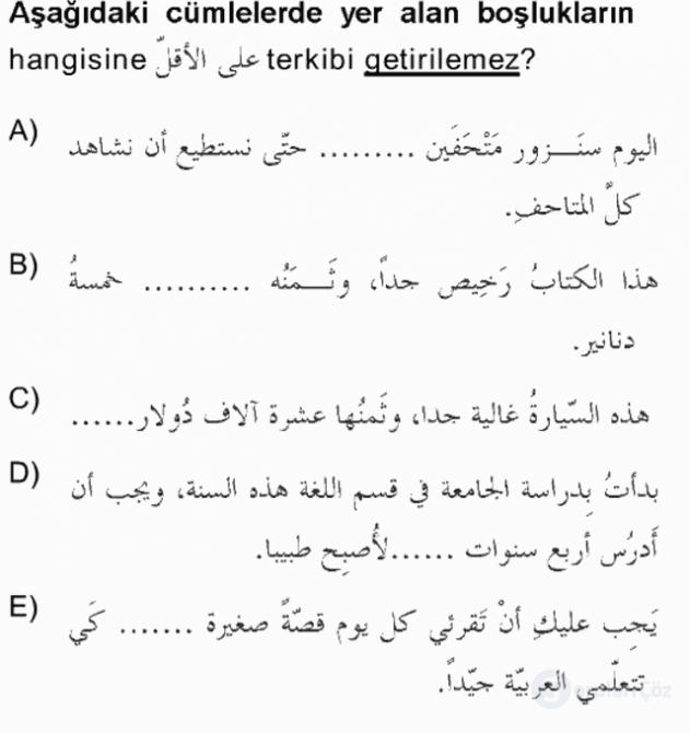 Arapça III Tek Ders Sınavı 19. Soru