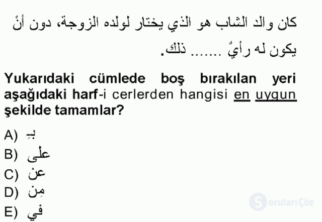 Arapça III Tek Ders Sınavı 20. Soru