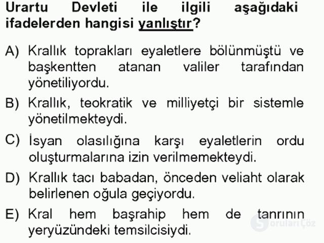Anadolu Arkeolojisi Tek Ders Sınavı 11. Soru