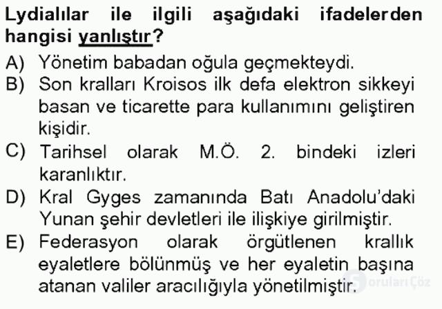 Anadolu Arkeolojisi Tek Ders Sınavı 14. Soru