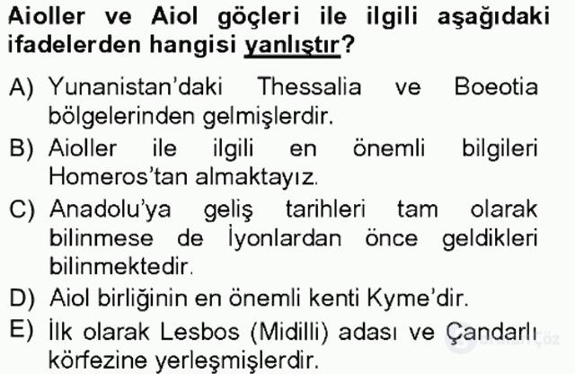 Anadolu Arkeolojisi Tek Ders Sınavı 17. Soru