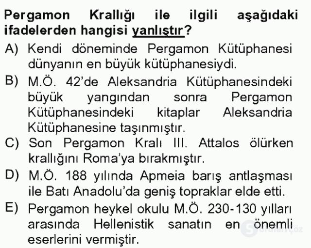 Anadolu Arkeolojisi Tek Ders Sınavı 18. Soru