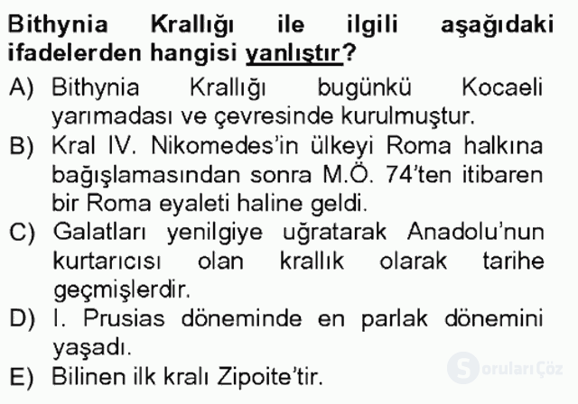 Anadolu Arkeolojisi Tek Ders Sınavı 19. Soru