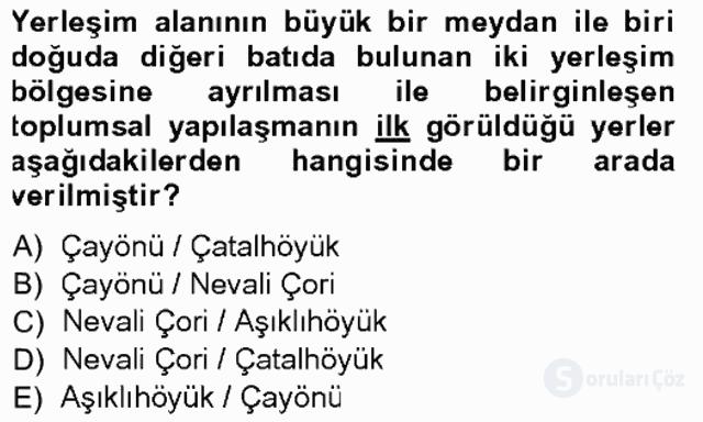 Anadolu Arkeolojisi Tek Ders Sınavı 2. Soru