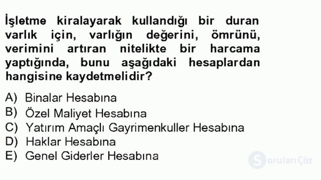 Genel Muhasebe II Tek Ders 4. Soru