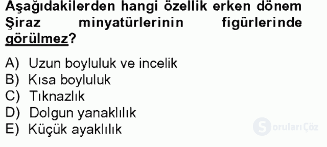Ortaçağdan Günümüze Anadolu Uygarlıkları Tek Ders Sınavı 14. Soru