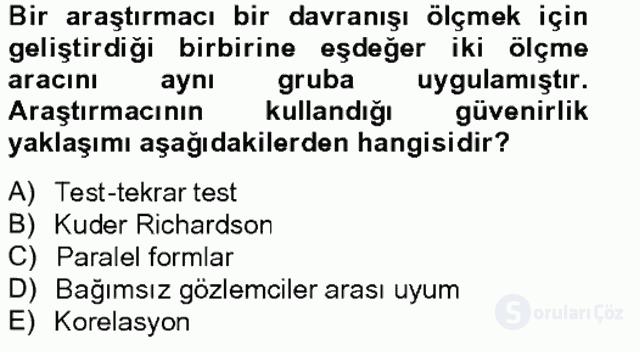 Bilimsel Araştırma Yöntemleri Tek Ders Sınavı 15. Soru