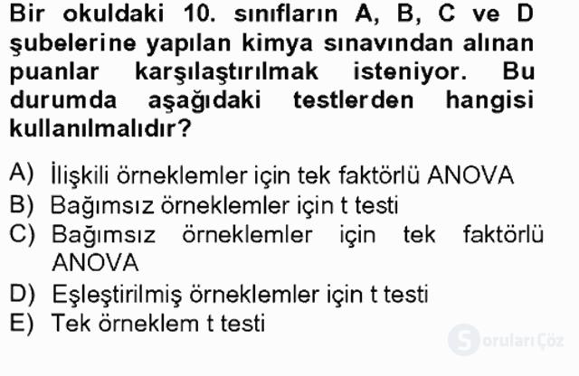 Bilimsel Araştırma Yöntemleri Tek Ders Sınavı 16. Soru