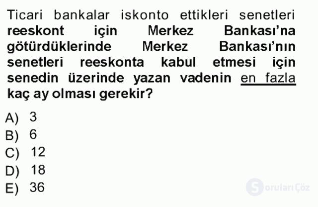 Bankalarda Kredi Yönetimi Tek Ders Sınavı 11. Soru