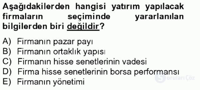 Portföy Yönetimi Tek Ders Sınavı 10. Soru