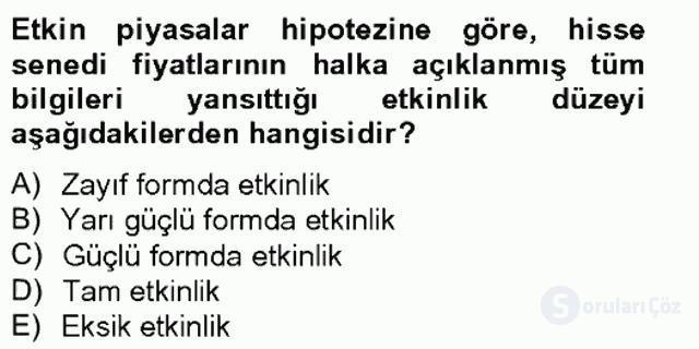 Portföy Yönetimi Tek Ders Sınavı 13. Soru