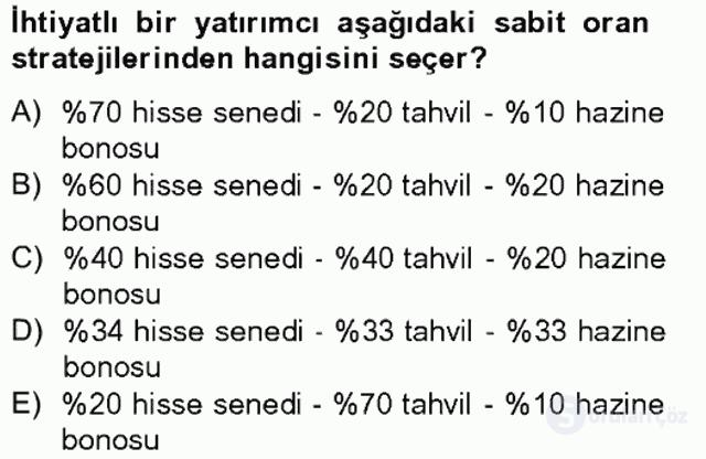 Portföy Yönetimi Tek Ders Sınavı 14. Soru