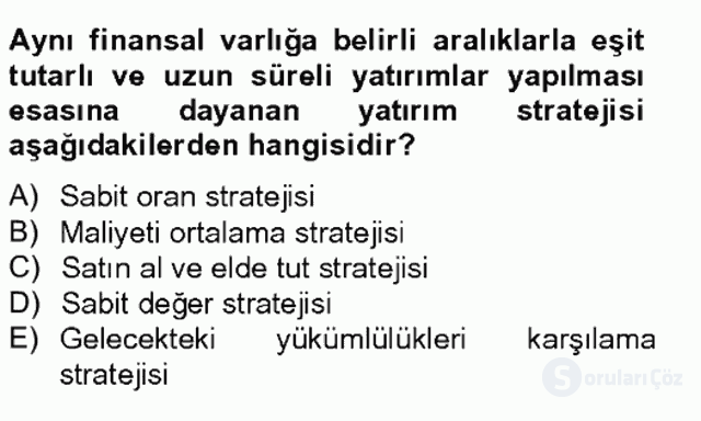 Portföy Yönetimi Tek Ders Sınavı 16. Soru