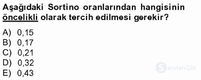 Portföy Yönetimi Tek Ders Sınavı 18. Soru