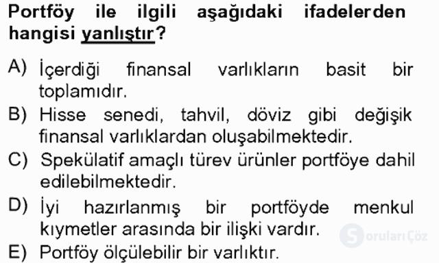 Portföy Yönetimi Tek Ders Sınavı 2. Soru