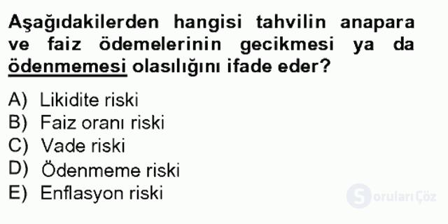 Portföy Yönetimi Tek Ders Sınavı 3. Soru