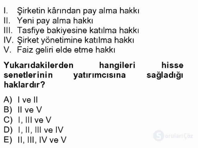 Portföy Yönetimi Tek Ders Sınavı 4. Soru