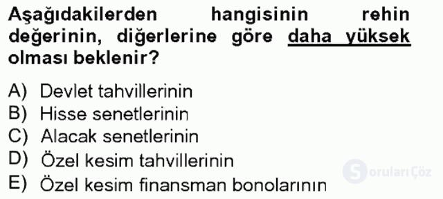 Portföy Yönetimi Tek Ders Sınavı 5. Soru