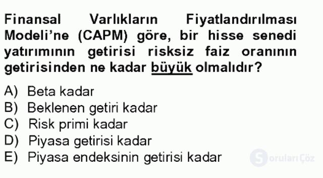 Portföy Yönetimi Tek Ders Sınavı 7. Soru