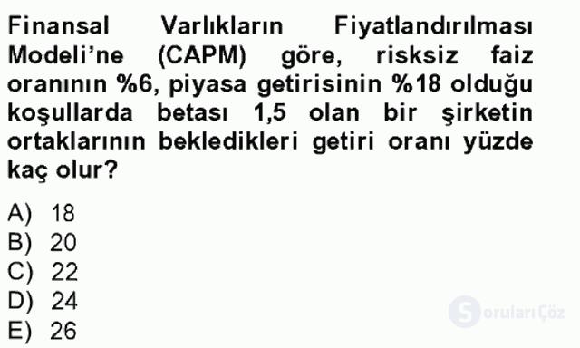 Portföy Yönetimi Tek Ders Sınavı 9. Soru