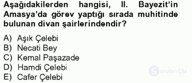 XVI. Yüzyıl Türk Edebiyatı Tek Ders Sınavı 1. Soru