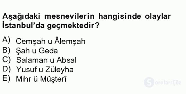 XVI. Yüzyıl Türk Edebiyatı Tek Ders Sınavı 12. Soru