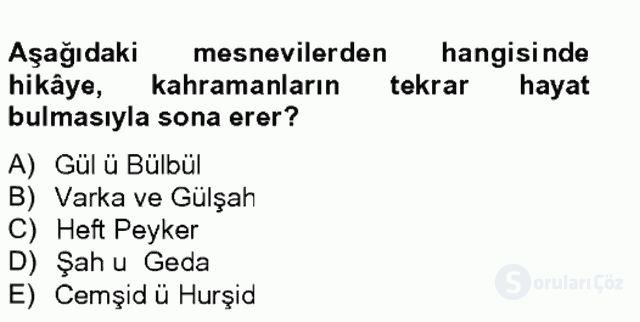 XVI. Yüzyıl Türk Edebiyatı Tek Ders Sınavı 13. Soru
