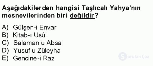 XVI. Yüzyıl Türk Edebiyatı Tek Ders Sınavı 14. Soru