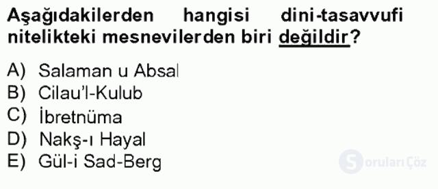 XVI. Yüzyıl Türk Edebiyatı Tek Ders Sınavı 17. Soru