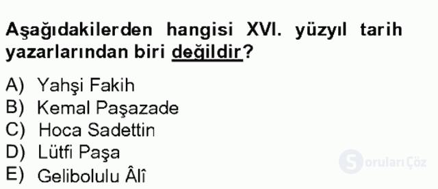 XVI. Yüzyıl Türk Edebiyatı Tek Ders Sınavı 19. Soru