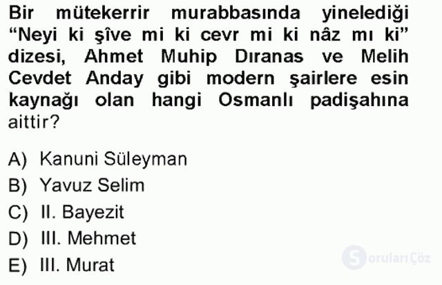 XVI. Yüzyıl Türk Edebiyatı Tek Ders Sınavı 2. Soru