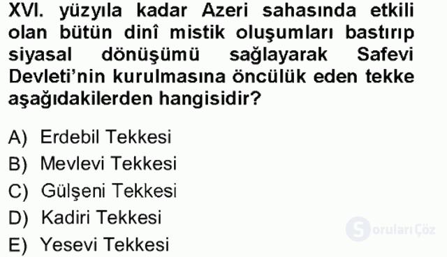 XVI. Yüzyıl Türk Edebiyatı Tek Ders Sınavı 4. Soru