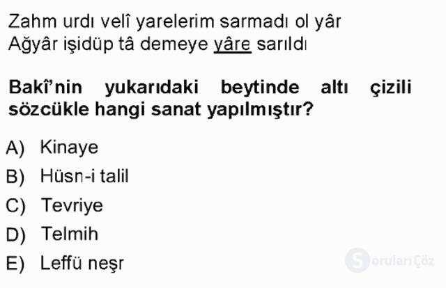 XVI. Yüzyıl Türk Edebiyatı Tek Ders Sınavı 5. Soru