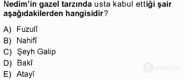XVIII. Yüzyıl Türk Edebiyatı Tek Ders Sınavı 1. Soru